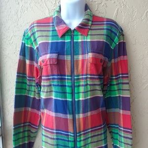 Chaps Plaid Zip Front Shirt